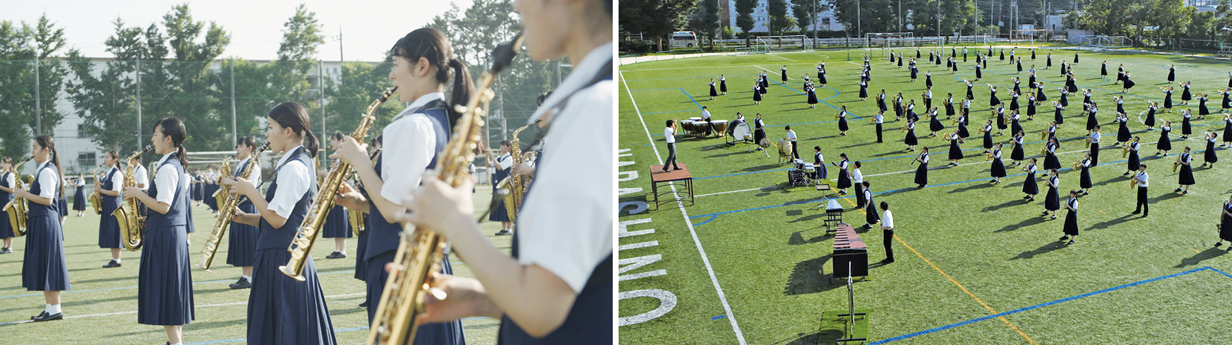 「大地のエール」を力強く演奏する習志野高校吹奏楽部の皆さん